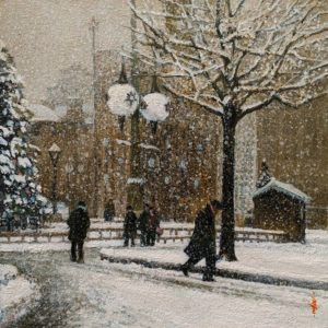 """SOLD """"A Snowy Christmas,"""" by Alan Wylie 10 x 10 - oil $1650 Unframed $1900 in show frame"""