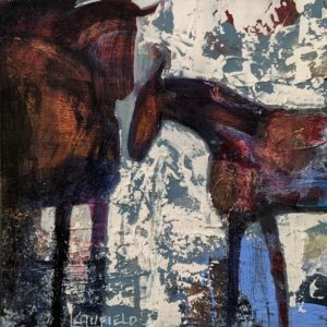 """SOLD """"Stable Mates II,"""" by Lee Caufield 6 x 6 - acrylic $325 (unframed panel with 1 1/2"""" edges)"""