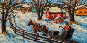 """SOLD """"Sunday Ride,"""" by Rod Charlesworth 6 x 12 - oil $750 Unframed $960 in show frame"""