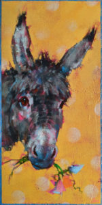"""SOLD """"Sweet Pea,"""" by Angie Rees 6 x 12 - acrylic $450 (unframed panel with 1 1/2"""" edges)"""
