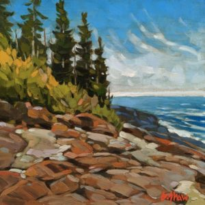 """SOLD """"Ucluelet Summer Shores,"""" by Graeme Shaw 8 x 8 - oil $470 Unframed"""