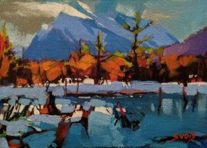 """SOLD """"Vermillion Lake (Banff)"""" by Mike Svob 5 x 7 - acrylic $470 Unframed $645 in show frame"""