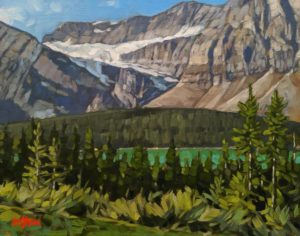"""SOLD """"View to the Crowfoot Glacier,"""" by Graeme Shaw 11 x 14 - oil $735 Unframed $990 in show frame"""