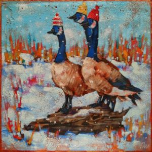 """SOLD """"We Stand on Guard for Thee,"""" by Angie Rees 8 x 8 - acrylic $425 (unframed panel with 1 1/2"""" edges)"""