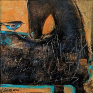 """SOLD """"What Is This Thing Called Love?"""" by Lee Caufield 6 x 6 - acrylic $325 (unframed panel with 1 1/2"""" edges)"""
