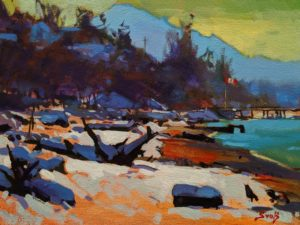 """SOLD """"A White Blanket (White Rock),"""" by Mike Svob 9 x 12 - acrylic $835 Unframed $1085 in show frame"""