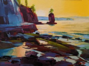 "SOLD ""Winter Day at Siwash Rock,"" by Mike Svob 12 x 16 - acrylic $1415 Unframed"