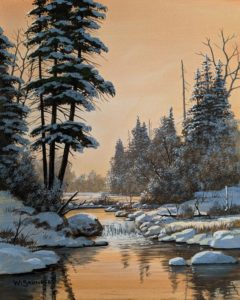"""SOLD """"Winter Falls,"""" by Bill Saunders 8 x 10 - acrylic $650 Unframed $870 in show frame"""