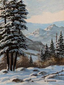 """SOLD """"Winter Trail,"""" by Bill Saunders 6 x 8 - acrylic $500 Unframed $610 in show frame"""