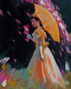 """Yellow Parasol,"" by Clement Kwan 8 x 10 - acrylic $1300 Unframed"