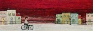 """""""Poulidor,"""" by Louise Lauzon 12 x 36 - acrylic $1000 (artwork continues onto edges of thick canvas wrap)"""