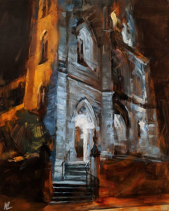 """SOLD """"Holy Rosary Cathedral,"""" by William Liao 16 x 20 - oil $1235 Unframed"""
