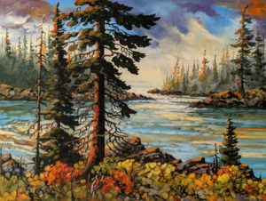 """""""Passage to Open Water, Near Ucluelet,"""" by Rod Charlesworth 36 x 48 - oil $5025 (thick canvas wrap)"""