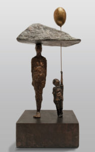 """""""Perfect Symmetry on a Cloudless Day,"""" by Michael Hermesh 16"""" (H) x 7"""" (L) x 5"""" (W) - bronze No. 5 of edition of 15 $4200"""