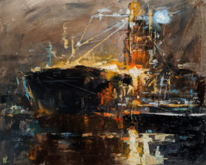 """SOLD """"Viterra Cascadia Terminal,"""" by William Liao 16 x 20 - oil $1120 Unframed"""
