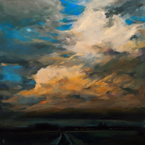 """SOLD """"Way Home,"""" by William Liao 36 x 36 - acrylic $4300 (thick canvas wrap without frame)"""