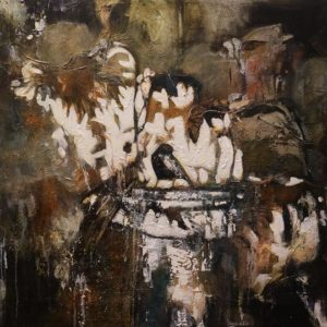 """Birdbath,"" by Lee Caufield 24 x 24 - acrylic $1300 (thick canvas wrap)"