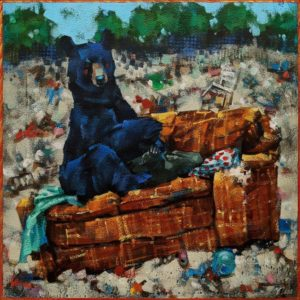 """SOLD """"Couch Potato,"""" by Angie Rees 12 x 12 - acrylic $825 (unframed panel with 1 1/2"""" edges)"""