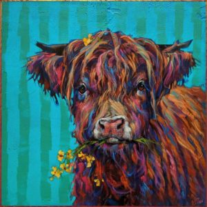 """SOLD """"I'm Feeling Mellow Yellow,"""" by Angie Rees 16 x 16 - acrylic $1300 (unframed panel with 1 1/2"""" edges)"""