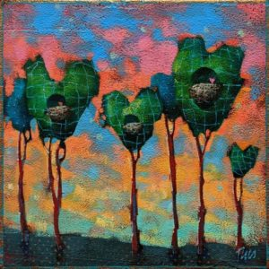 """SOLD """"Love is in the Air,"""" by Angie Rees 6 x 6 - acrylic $225 (unframed panel with 1 1/2"""" edges)"""