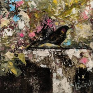 """Morning Blackbird,"" by Lee Caufield 6 x 6 - acrylic $350 (unframed panel with 1 1/2"" edges)"