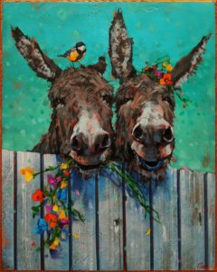 """SOLD """"The Neighbours Are Making Asses of Themselves Again,"""" by Angie Rees 16 x 20 - acrylic $1475 (unframed panel with 1 1/2"""" edges)"""