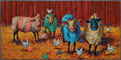 """""""Social Knitworking,"""" by Angie Rees 12 x 24 - acrylic $1350 (unframed panel with 1 1/2"""" edges)"""