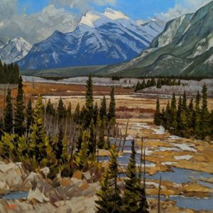 """""""View to Mt. Rundle,"""" by Graeme Shaw 48 x 48 - oil $6735 (thick canvas wrap)"""