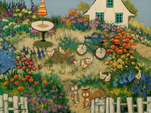 """SOLD """"The Charming Weekend,"""" by Claudette Castonguay 18 x 24 - acrylic $1060 Unframed"""