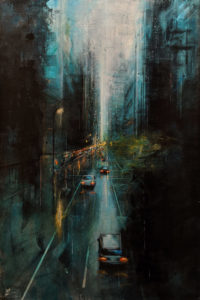 """SOLD """"City Forest,"""" by William Liao 24 x 36 - acrylic $2920 Unframed"""
