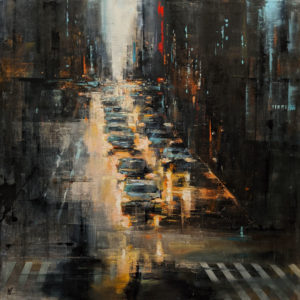 """SOLD """"Dunsmuir Torrent,"""" by William Liao 36 x 36 - oil $4300 (thick canvas wrap)"""