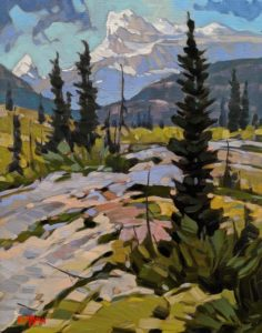 """SOLD """"Moose Pasture, Yoho,"""" by Graeme Shaw 11 x 14 - oil $735 (artwork continues onto edges of cradled panel)"""