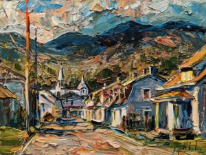 "SOLD ""Rue Saint Joseph, Baie Saint Paul,"" by Raynald Leclerc 18 x 24 - oil $2300 Unframed"