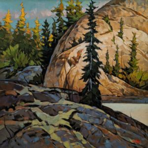 """SOLD """"Sunlit Corner (from Stagg River, N.W.T.)"""" by Graeme Shaw 30 x 30 - oil $3420 (artwork continues onto edges of canvas)"""