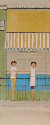 """Le Bistro Parisien,"" by Louise Lauzon 12 x 30 - acrylic $840 Unframed"