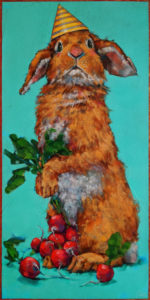"""SOLD """"The Bounty Hunter: Radishes,"""" by Angie Rees 10 x 20 - acrylic $1150 (unframed panel with 1 1/2"""" edges)"""