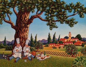 """The Chefs Have a Picnic,"" by Michael Stockdale 14 x 18 - acrylic $810 Unframed"