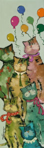 """SOLD """"It's a Birthday Today,"""" by Claudette Castonguay 6 x 20 - acrylic $390 Unframed"""