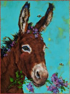 """""""Lady of the Lilacs,"""" by Angie Rees 12 x 16 - acrylic $1075 (unframed panel with 1 1/2"""" edges)"""