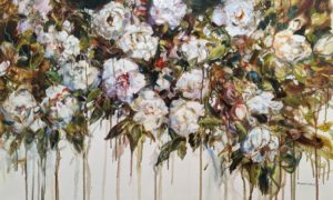 """SOLD """"Moonlight Roses,"""" by Janice Robertson 24 x 40 - acrylic $3200 (thick canvas wrap)"""