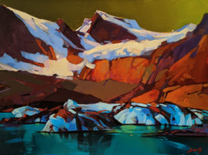 "SOLD ""Mystical Ice, Cariboo Mtns, B.C."" by Mike Svob 12 x 16 - acrylic $1415 Unframed"