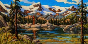 """SOLD """"Reflections, Cariboos,"""" by Rod Charlesworth 18 x 36 - oil $2890 Unframed"""