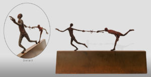 """SOLD """"The Rumour,"""" by Janis Woode Plate steel, wrapped copper wire, barbed wire, patina 21"""" (L) x 11 1/2"""" (H) x 4"""" (W) $3300"""
