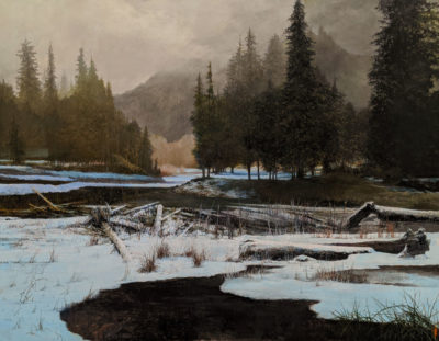 """Through the Mist,"" by Alan Wylie 49 x 63 - oil $20,400 Unframed"