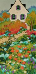 """SOLD """"Welcome at My Home,"""" by Claudette Castonguay 12 x 24 - acrylic $700 Unframed"""