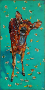 """SOLD """"Flora and Fawna,"""" by Angie Rees 10 x 20 - acrylic $1150 (unframed panel with 1 1/2"""" edges)"""