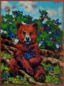 """SOLD """"I Found My Thrills on Blueberry Hill,"""" by Angie Rees 9 x 12 - acrylic $650 (unframed panel with 1 1/2"""" edges)"""