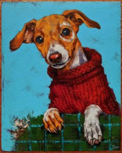 """SOLD """"Life's a Bit Better in a Homemade Sweater,"""" by Angie Rees 8 x 10 - acrylic $575 (unframed panel with 1 1/2"""" edges)"""