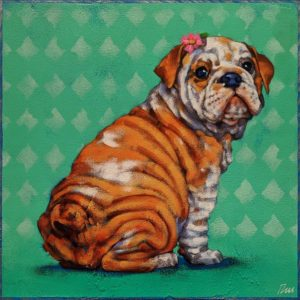 """SOLD """"Little Miss Droopy Drawers,"""" by Angie Rees 10 x 10 - acrylic $675 (unframed panel with 1 1/2"""" edges)"""