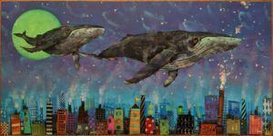 """SOLD """"Whale Watching Series: The Night Watch,"""" by Angie Rees 12 x 24 - acrylic $1350 (unframed panel with 1 1/2"""" edges)"""